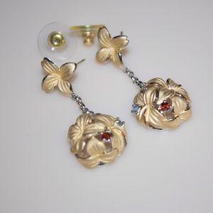 Plumeria Hibiscus Drop Earrings Hawaii Silver 925
